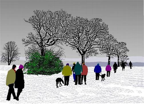 226 - Winter Scene with Ramblers